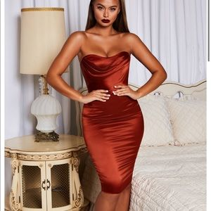 Oh Polly Strapless Satin Knee Length Dress Copper